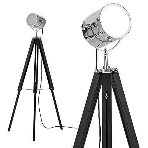 [lux.pro] Stehleuchte Tripod (1 x E27 Sockel)(64cm - 140cm) Industrial Design Dreifuss Dreibein Tripod Teleskop Chrom Stehlampe Leuchte