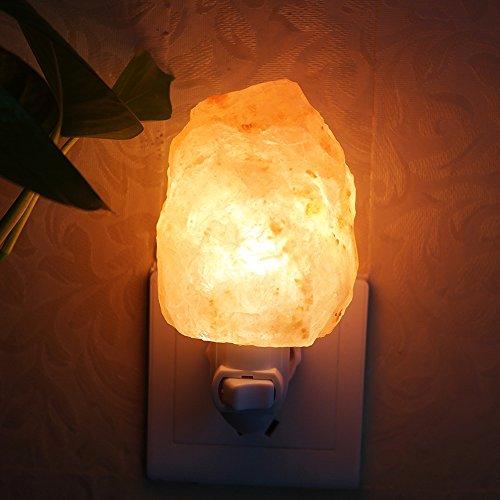 Salz Lampe, Aohro Mini Salzlampe Hand geschnitzte Natürliche Kristall Salz Nachtlicht Stimmungslicht mit EU-Stecker für Schlafzimmer Home Office Küche(Natural-Form)