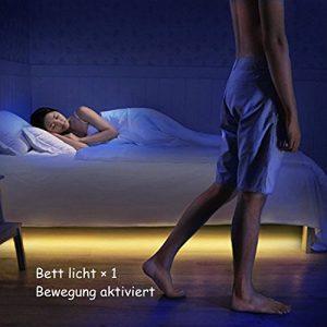 Jindia Bewegung aktiviert Bett Licht, Flexible LED Streifenlicht, Auto Ein/Aus Bewegungsmelder Nachttischlampe, Bewegung aktivierte LED-Lichtleiste (ein Sensor)