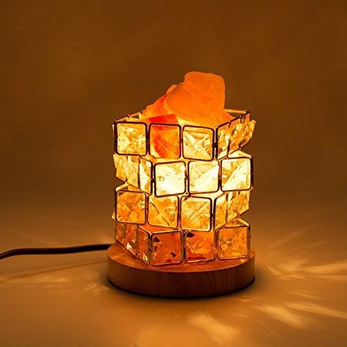 Salz-Lampe HALOViE Natürliche Himalaya Kristall Rock Salz Lampen Einstellbare Cube Nacht Licht auf Holzsockel mit Dimmer Steuerung für Air Purifying Schlafzimmer Beleuchtung