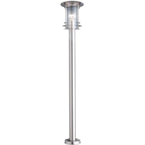 Edelstahl Außenleuchte 110 cm (Standleuchte, Gartenlampe, Sockelleuchte, Durchmesser 19 cm, 1 x E27)