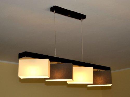 Hängelampe Pendellampe Lampe Leuchte 4 flammig Stella 4 (Creme Braun)
