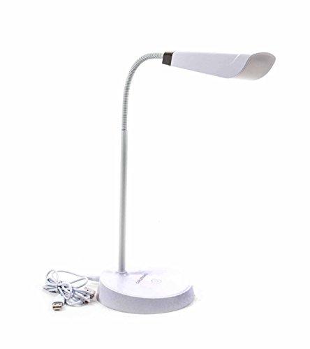 Flexible LED-Schreibtischlampe, USB- oder Batteriebetrieb, länglicher Schirm, weiß