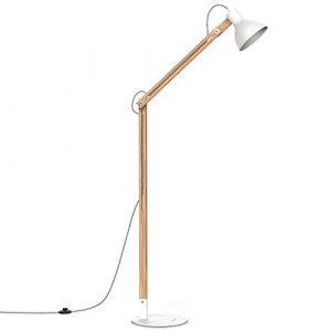 Tomons LED Stehlampe Holz, skandinavischer Stil, warmes und elegantes Design, schlichte Form max. 40W, E27, Höhe 147 cm, Multi-Winkel Schwingarm für Wohnzimmer, Schlafzimmer, Esszimmer usw., FL1001