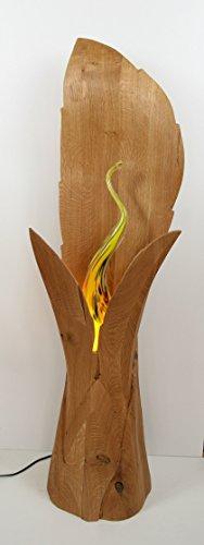 Stehlampe, Blattleuchte in Eiche, Standleuchte für Ruheraum, Bildhauerarbeit, Kunstwerk, Erholung, Holzsäule
