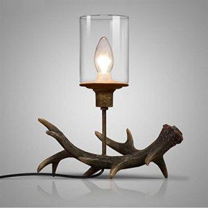 AMZH American Vintage Nachahmung Geweih Tischlampe Glas Lampenschirm Lichter für Wohnzimmer Schlafzimmer Studie Büro Lesen Beleuchtung Decor , a