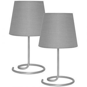 Nachttischlampe/ Leselampe/ Tischlampe 2er-Set, 1 x E14/40W A++ (Textilschirm grau)
