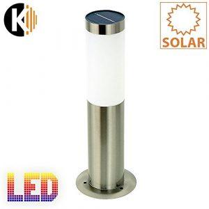 "KWAZAR LEUCHTE ""SOLAR-2C"" LED-Solar-Standleuchte, Edelstahl, circa 37 x 13cm, kalt weiss LED extrabright, mit Solarpanel, inklusive Akku outdoor"