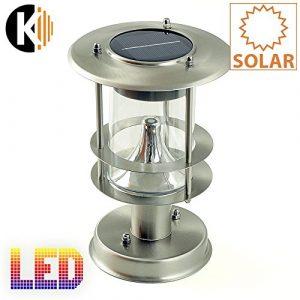 "KWAZAR LEUCHTE ""SOLAR-1B"" LED-Solar-Standleuchte, Edelstahl, circa 22 x 15cm, kalt weiss LED extrabright, mit Solarpanel, inklusive Akku outdoor"