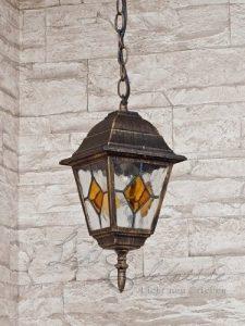 Rustikale Hängeleuchte in antikgold inkl. 1x 12W E27 LED 230V Pendelleuchte aus Aluminium & Glas Hängelampe für Garten/Terrasse Pendellampe Garten Weg Terrasse Lampen Leuchte außen Beleuchtung