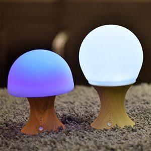 AOKARLIA Led Licht Nachtlicht Usb Bunt Silikonlicht Verformbar Kann Zeitlich / üBerladen Schutz Berechnen Warmes Lights (Holzmaserung Base)
