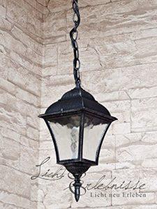 Hochwertige Hängeleuchte in antiksilber inkl. 1x 12W E27 LED 230V Pendelleuchte aus Aluminium & Glas Hängelampe für Garten/Terrasse Weg Terrasse Lampen Leuchte außen Beleuchtung
