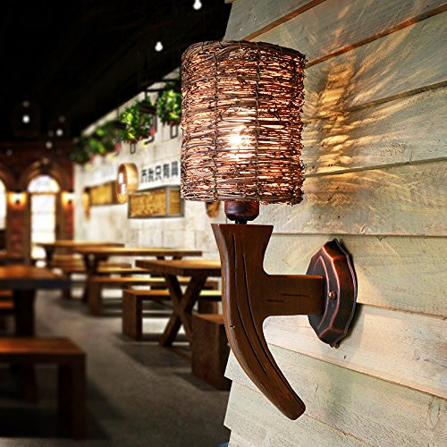 DYBLING Vintage Nachttischlampe Wohnzimmer Schlafzimmer amerikanischen Dorf Rattan Harz Wandleuchten, 200*400 mm