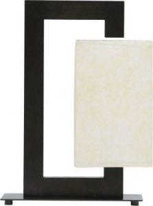 Moderne Tischleuchte aus Holz, Stahl, Stoffschirm, E27 max. 60W, Höhe 36cm, Wohnzimmerleuchte Schlafzimmerleuchte Nachttischlampe