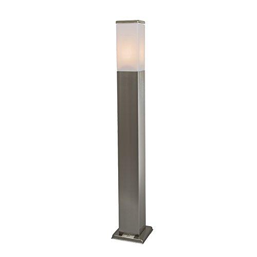QAZQA Design / Modern / Außenleuchte / Wegeleuchte / Gartenlampe / Gartenleuchte / Standleuchte Malios Pfahl 80 Stahl / Silber / nickel matt / Außenbeleuchtung Kunststoff / rostfreier Stahl / Rechteck