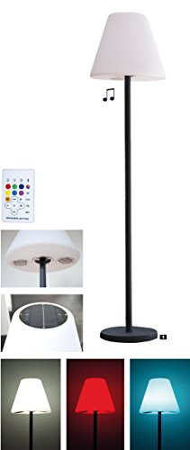LED Gartenlampe Stehlampe mit Solar und Bluetooth Boxen RGB Farbwechsel