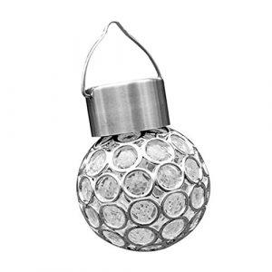 Sharplace Solarleuchten Garten Solarbetriebene Hängelampe Kugelleuchte Gartenkugel Beleuchtung, Bunt / Weiß – Weiß