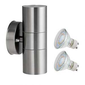 SEBSON Aussenleuchte, Wandleuchte, Edelstahl, up down, inkl. 2x GU10 LED Lampe 4W (3,5W) kaltweiß