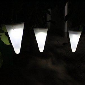 wfz17Outdoor Garten Aufhängen Solar LED Nachtlicht, konische Form hängende Windlichter Sensor Wand Night Lampen