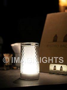 Imagilights Venetian Glitter LED Tischlampe, 24 Farben mit Farbwechsel, Kerzenmodi, Höhe ca. 15 cm, Durchmesser ca. 8,3 cm, Rund, Kabellos, mit Akku, Inklusive Ladegerät, Wasserdicht, Stoßfest