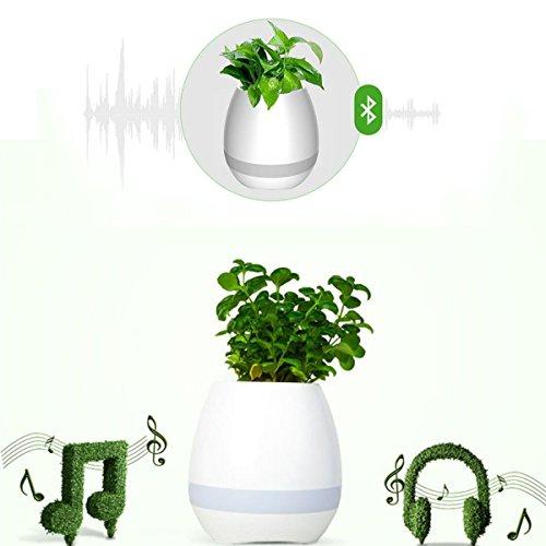 Bluetooth Musik Blumentopf Wiederaufladbare intelligente Touch-Steuerung Klavier-Musik Flowerpot Lautsprecher mit Tabellen-Lampe Buntes Nachtlicht LED-Stimmungs-helles