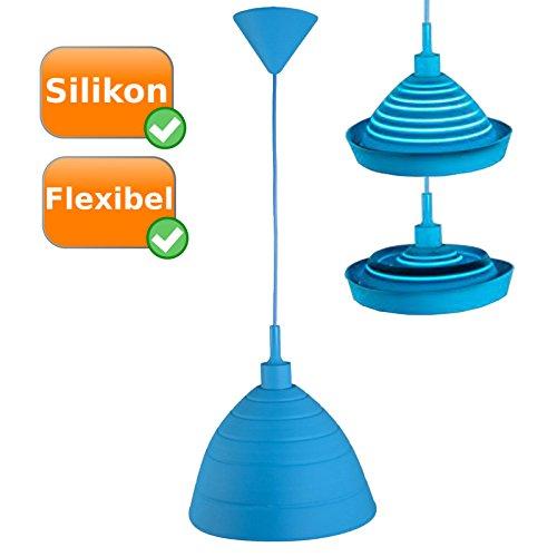 Silikon-Hängelampe, pflegeleichte + formbare Pendelleuchte ideal fürs Kinderzimmer, Farbe: blau