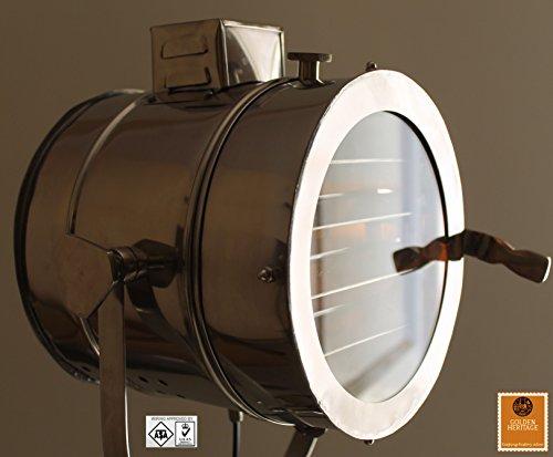 Stehlampe, Motiv: Vintage Design Dreibeinstativ Searchlight Spot