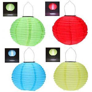 Hrph 4pcs 30CM Wasserdichte Solarlaterne Solar-Outdoor-Hängeleuchten LED Urlaub Lichter Laterne Chinesisches Feiern Hängen (Solarlaterne)