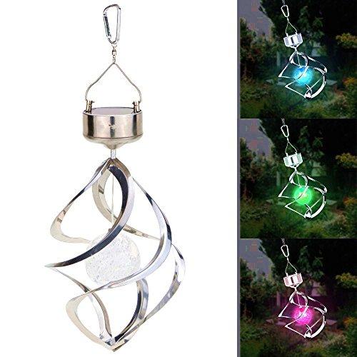 Qiorange Solar angetriebene Licht Wind Spining LED Farbwechsel Hängeleuchte für Party Garten Innenhof Landschaft Pathway Dekoration