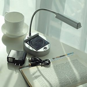 ELINKUME Solar USB Powered 4-LEDs Solar LED Tischleuchte Super Bright Light Flexible 24LM Table Lamp Silver