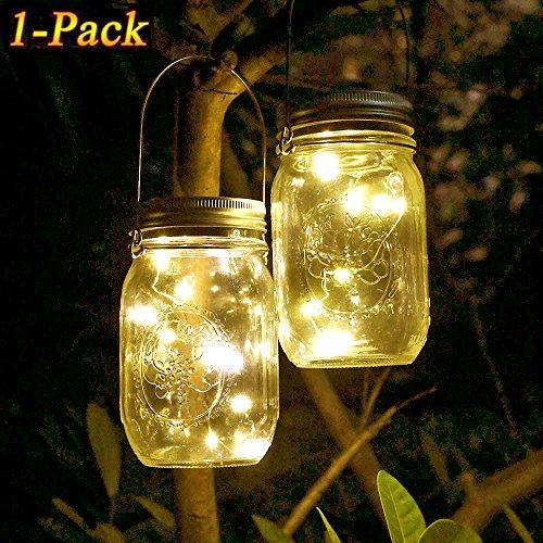 Solar Mason Jar Licht, WarmweißWasserdichte LED Einweckglas Garten Hängeleuchten, Solarlampe Weckglas Fee String Lichter für Party,Weihnachtsferien, Hochzeitsdekoration
