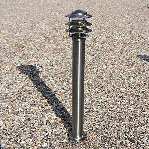 Pollerleuchte Edelstahl 80,5 cm hoch | silber + E27 + IP44 + robust + winterfest + Design | Wegeleuchte | Außenleuchte | Gartenbeleuchtung | Standleuchte | Gartenlampe | Außenlampe | Wegelampe