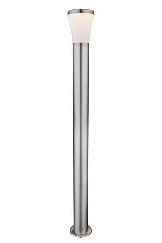 LED Außenlampe aus Edelstahl Lampen Schirm Höhe 110 cm (Standleuchte, Wegeleuchte, Weg Beleuchtung, Außen Leuchte, Garten Lampe Pfostenleuchte, Sockel Leuchte, Standlampe, 10,5 Watt, warmweiß, IP44)