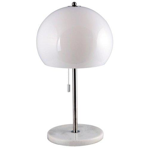 Klassische Tischleuchte ca. 51 cm hoch für den Innen- und Außenbereich mit Leuchtenschirm aus weißem Kunststoff