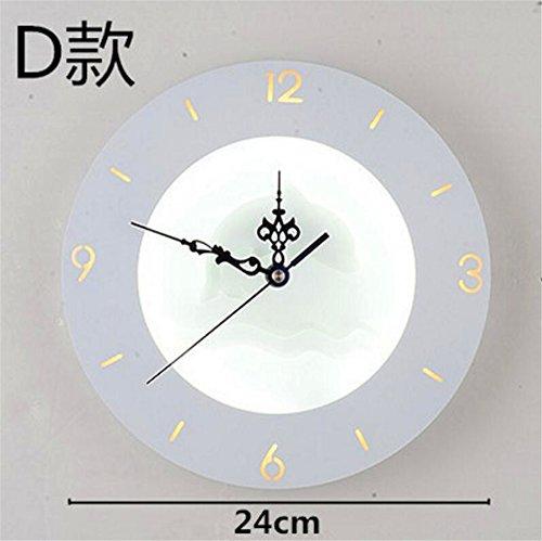 Amadoierly Wandlampe Kreative Uhr Nachttischlampe Wand Schlafzimmer Minimalistischen Moderne Kunst Wohnzimmer Treppe Gang Wandlampe (Ohne Dekorationen),D,24x24cm