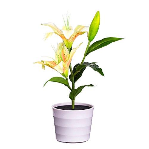 LEDMOMO Lilien Blumen Licht, Blumen Design Solarleuchte künstliche Blumen mit LED im Topf für Außen und Innen Dekoration (Gelbe Blume)