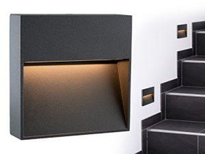 SSC-LUXon® LED Wand-leuchte KEILA anthrazit eckig – Wand & Treppen-leuchte IP54 für innen und außen, 2W warm-weiß 2700K