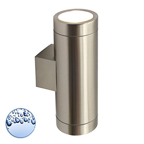 LED Wandleuchte / Wandlampe / Außenleuchte / Up Down / 2-Flammig / Edelstahl / Form:A / IP44 / GU10-230V (Warmweiß)
