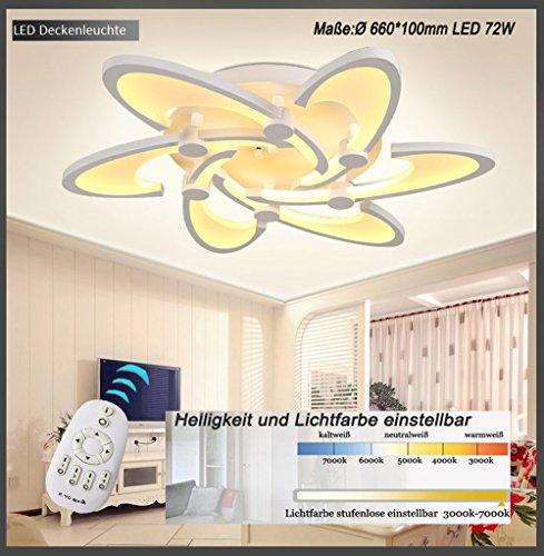 Eurohandisplay LED Deckenleuchte 2127-6 Ø 66 cm LED 72W mit Fernbedienung Lichtfarbe/ Helligkeit einstellbar Acryl-Schirm weiß lackierte Metallrahmen (2127-6 Ø 66 cm LED 72W) LED Wohnzimmerleuchte Kronleuchte Pendelleuchte DeckenlampeDeckenstrahler LED Deckenleuchte Hängeleuchte Hängelampe LED lampe LED Leuchte Beleuchtung Einbauleuchte Wandleuchte Spot Lüster