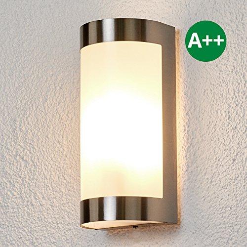 Wandleuchte außen Alvin (Modern) in Alu aus Edelstahl (1 flammig, E27, A++) von Lampenwelt | Wandlampe für Outdoor & Garten Wandlampe für Außenwand/Hauswand, Haus, Terrasse & Balkon