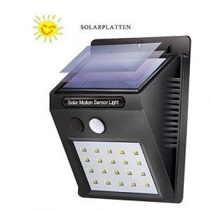 Solarleuchte mit Bewegungsmelder, 20 LED Solar Wandleuchte, Solarlampe, Sicherheits Solarlicht, Kabelloses Wasserfest Außenbeleuchtung