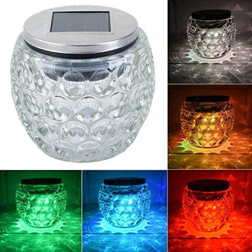LED Solar Tischlampe ( rund ) Solarlampe Gartenlampe aus Glas mit LED Farbwechsel und weißes Licht