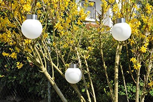 3x LED Solar Kugel zum Aufhängen 13cm Gartenlampe Leuchtkugel Hängelampe