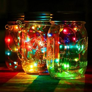 KEEDA Solar Lampen/ Glas Solarlampe, Solar Jar/Sun Jar,LED Nachtlicht, SolarLaterne, Weihnachtsleuchten, Solarleuchten/Gartenleuchten/ Gartenlicht, Nachtlicht Leuchtmittel, Bunte Tischlampen, LED Dekoration Beleuchtung (Multi)