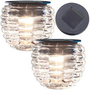 Solar-LED-Windlicht aus Glas,mit tollem Lichtmuster,IP44,Ø8cm,2er Set