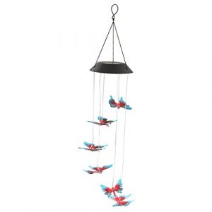 Baoblaze LED Solar Leuchte Windspiel Flur Garten Außen Deko Farbwechsel Hänge Lampe – Schmetterling
