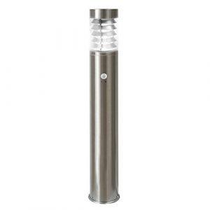 LED Standleuchte, 100cm, Bewegungsmelder und Dämmerungssensor, Sockelleuchte, Außenleuchte, Edelstahl, IP44, E27-230V (Form:S20) (Neutralweiß)