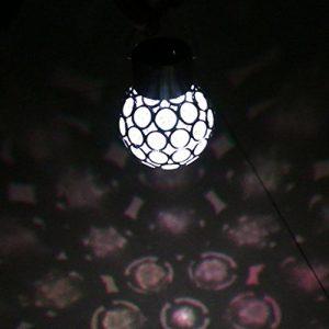 Homyl LED Solarkugel Solarleuchte Gartenleuchte Kugelleuchte Gartenkugel Hängelampe Baum Dekoleuchten, Durchmesser 8 cm – Weiß