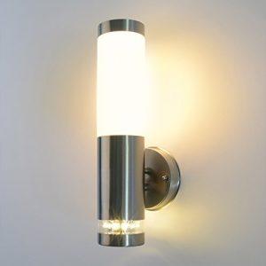 Aussenleuchte 232A2 inkl. E27 LED 7W Warmweiß Wandleuchte Aussenwandlampe Wandlampe Aussenwandleuchte Edelstahl E27 Fassung…