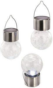 Esotec Solar Hängeleuchten 3-er Set Crackle Balls, echts Glasdesign mit Hängebügel 102304